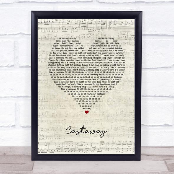 5 Seconds Of Summer Castaway Script Heart Song Lyric Print