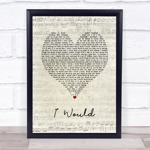 One Direction I Would Script Heart Song Lyric Print