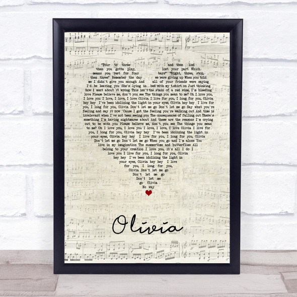 One Direction Olivia Script Heart Song Lyric Print