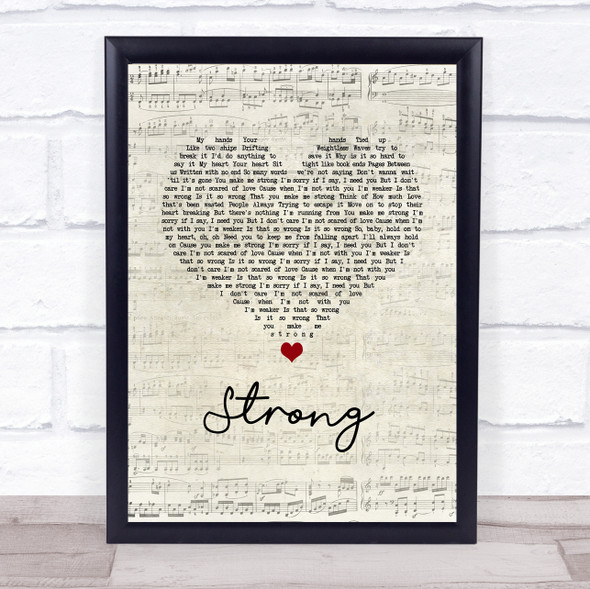 One Direction Strong Script Heart Song Lyric Print