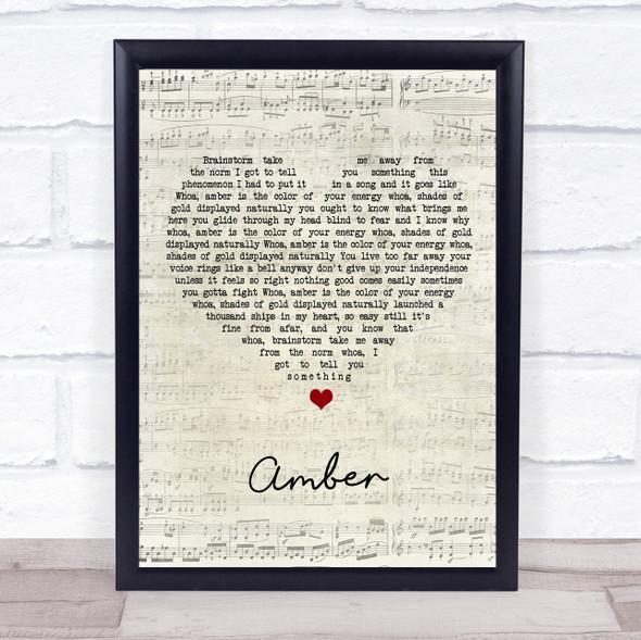 311 Amber Script Heart Song Lyric Print