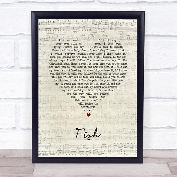 13th Star Fish Script Heart Song Lyric Print