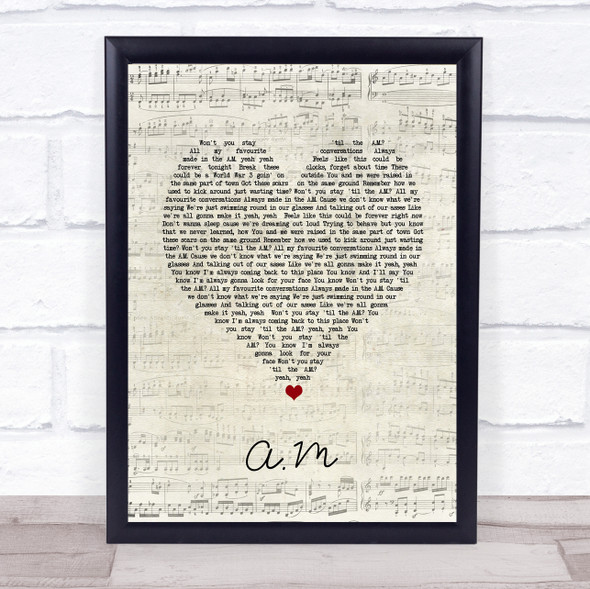 One Direction A.M Script Heart Song Lyric Print