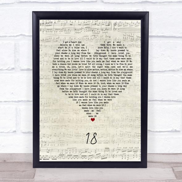 One Direction 18 Script Heart Song Lyric Print