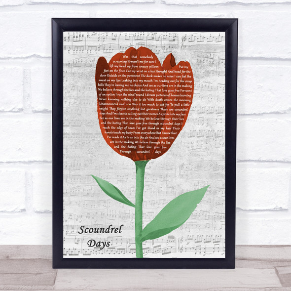 A-ha Scoundrel Days Grey Script Watercolour Tulip Song Lyric Print