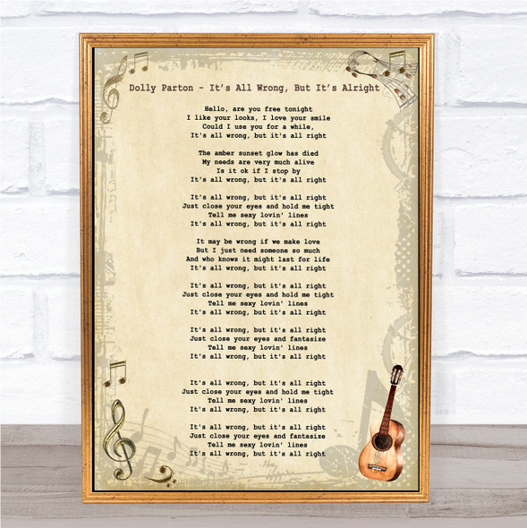 Dolly Parton It's All Wrong, But It's All Right Vintage Guitar Song Lyric Print