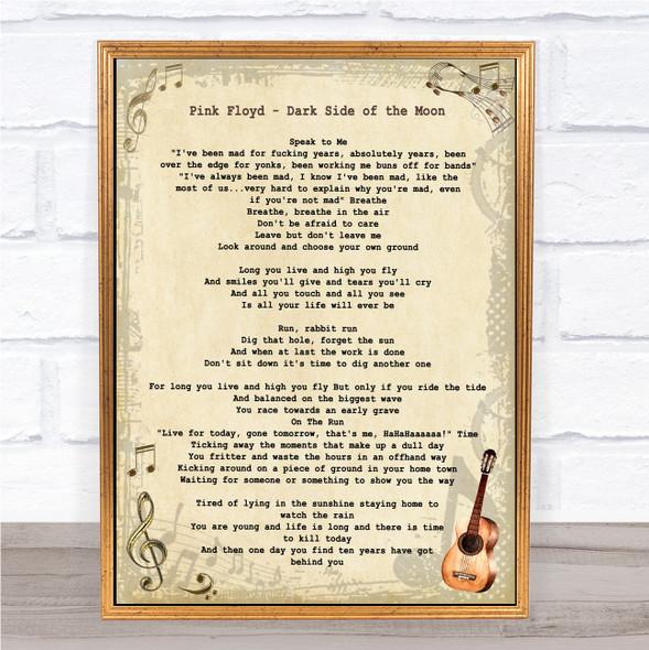 Pink Floyd Dark Side of the Moon Vintage Guitar Song Lyric Print