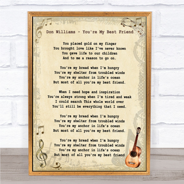 Don Williams You're My Best Friend Vintage Guitar Song Lyric Print