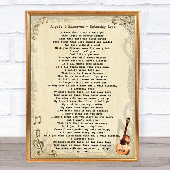 Angels & Airwaves Saturday Love Vintage Guitar Song Lyric Print