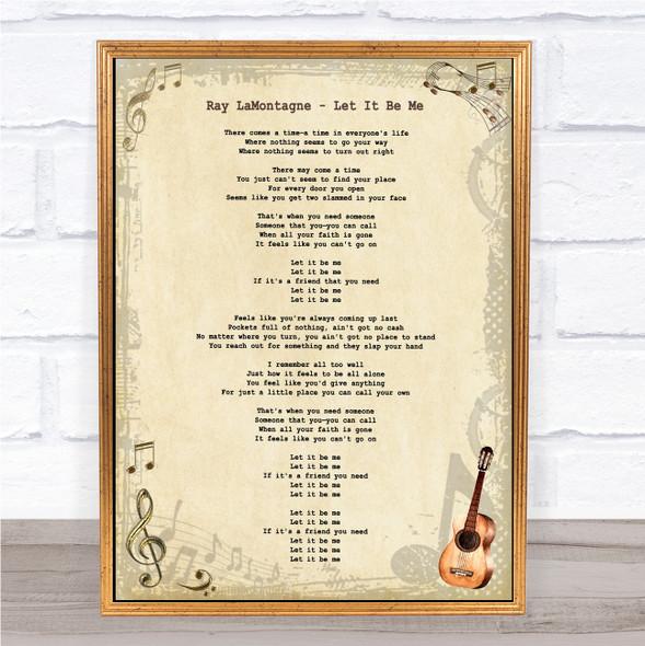 Ray LaMontagne Let It Be Me Vintage Guitar Song Lyric Print