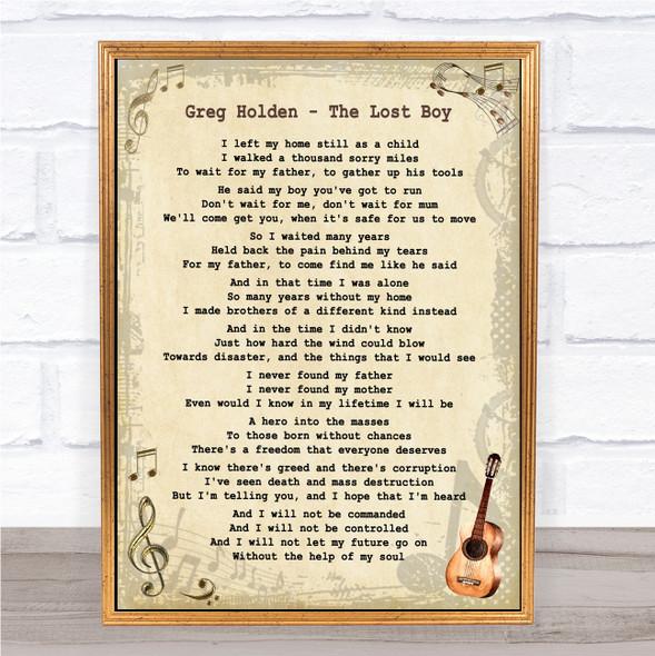 Greg Holden The Lost Boy Vintage Guitar Song Lyric Print