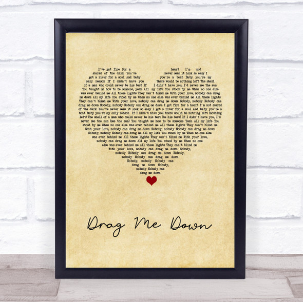 One Direction Drag Me Down Vintage Heart Song Print