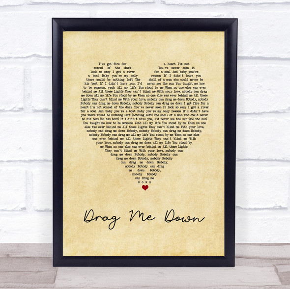 One Direction Drag Me Down Vintage Heart Song Lyric Print