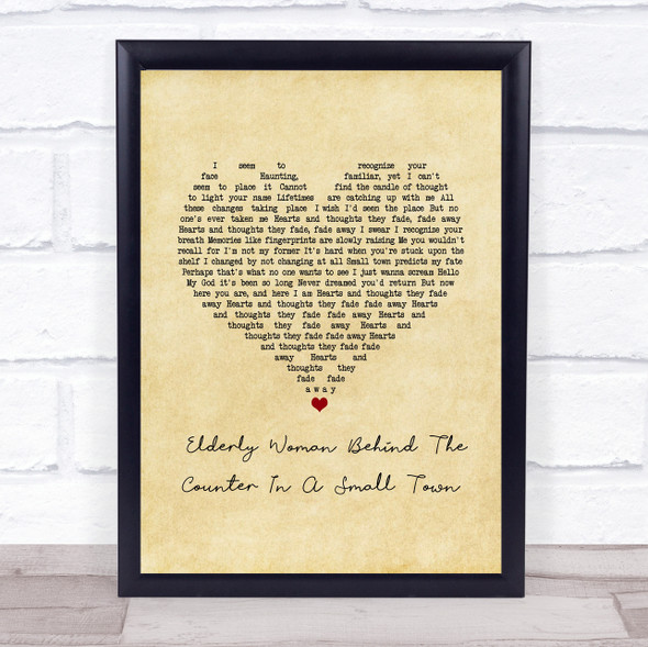 Pearl Jam Elderly Woman Behind The Counter In A Small Town Vintage Heart Song Lyric Print