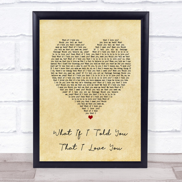 Ali Gatie What If I Told You That I Love You Vintage Heart Song Lyric Print