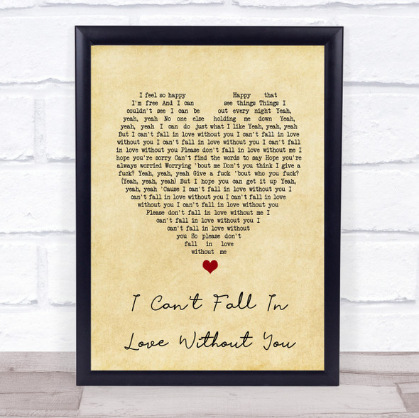 Zara Larsson I Can't Fall In Love Without You Vintage Heart Song Lyric Print