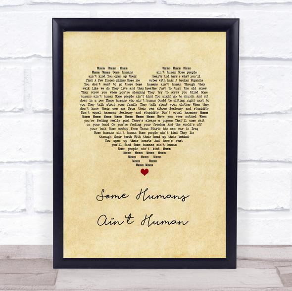 John Prine Some Humans Ain't Human Vintage Heart Song Lyric Print