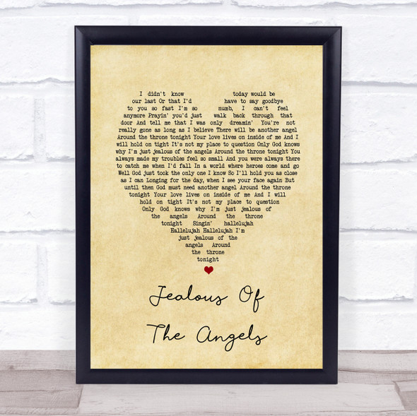 Donna Taggart Jealous of the Angels Vintage Heart Song Lyric Print