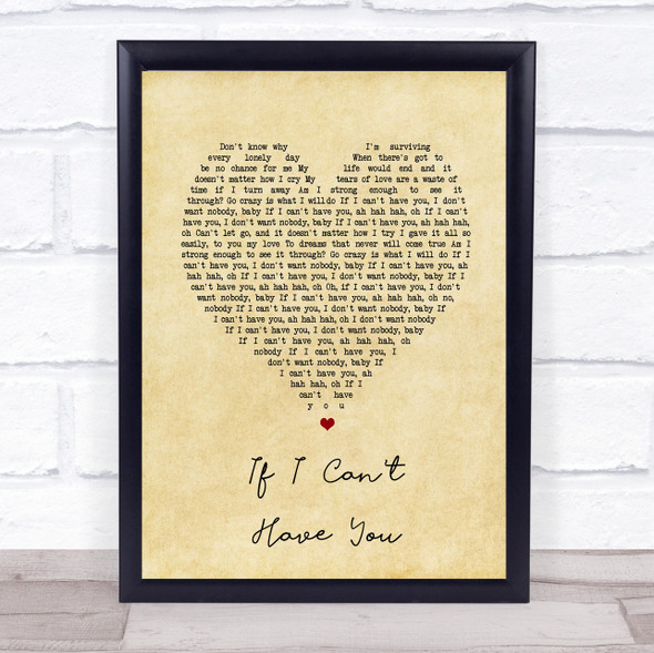 Yvonne Elliman If I Can't Have You Vintage Heart Song Lyric Print