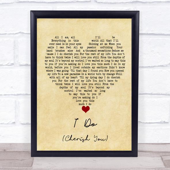 98 Degrees I Do (Cherish You) Vintage Heart Song Lyric Print