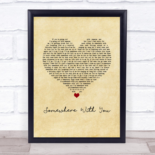 Kenny Chesney Somewhere With You Vintage Heart Song Lyric Print