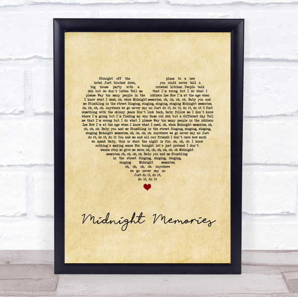 One Direction Midnight Memories Vintage Heart Song Lyric Print