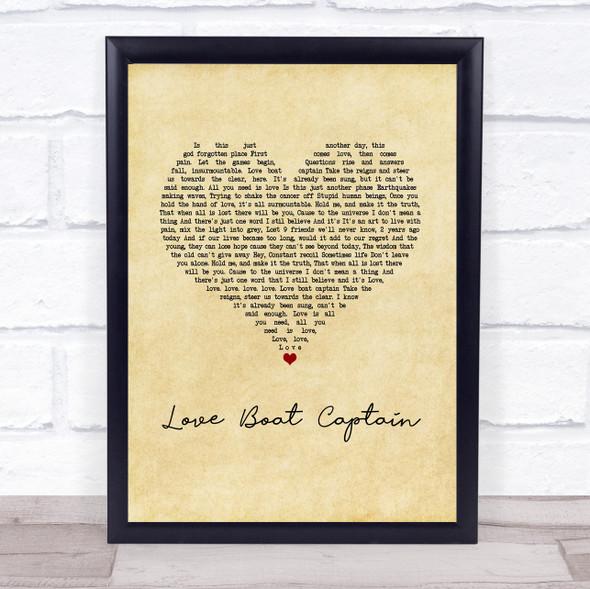 Pearl Jam Love Boat Captain Vintage Heart Song Lyric Print