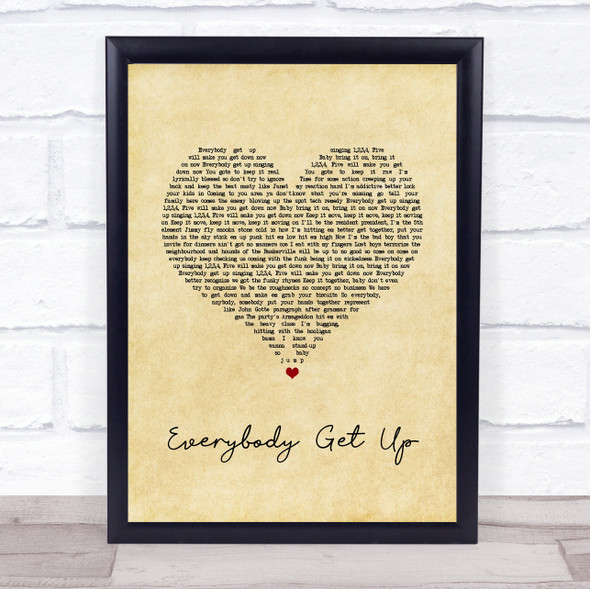 5ive Everybody Get Up Vintage Heart Song Lyric Print