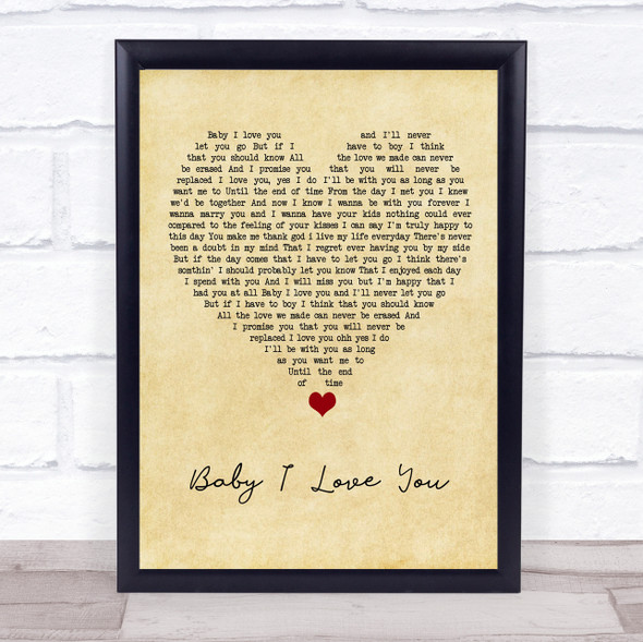 1st Lady Baby I Love You Vintage Heart Song Lyric Print