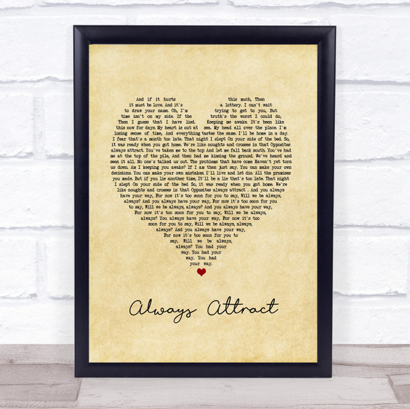 You Me At Six Always Attract Vintage Heart Song Lyric Print