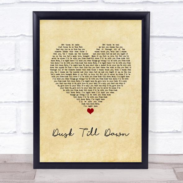 ZAYN ft. Sia Dusk Till Dawn Vintage Heart Song Lyric Print