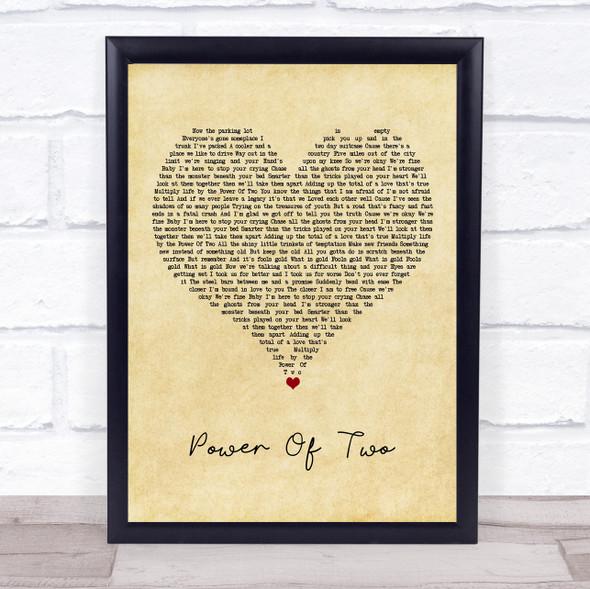 Indigo Girls Power Of Two Vintage Heart Song Lyric Print