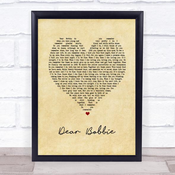 Yellowcard Dear Bobbie Vintage Heart Song Lyric Print