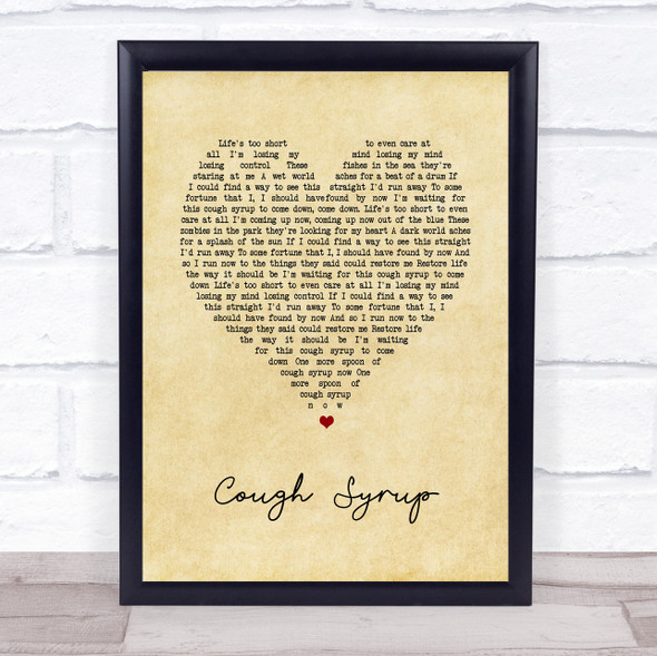 Young The Giant Cough Syrup Vintage Heart Song Lyric Print