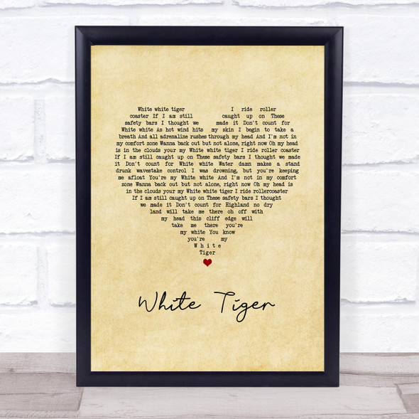 Izzy Bizu White Tiger Vintage Heart Song Lyric Print