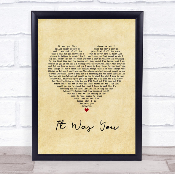12 Stones It Was You Vintage Heart Song Lyric Print