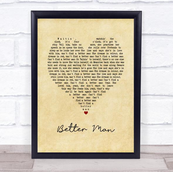 Pearl Jam Better Man Vintage Heart Song Lyric Print