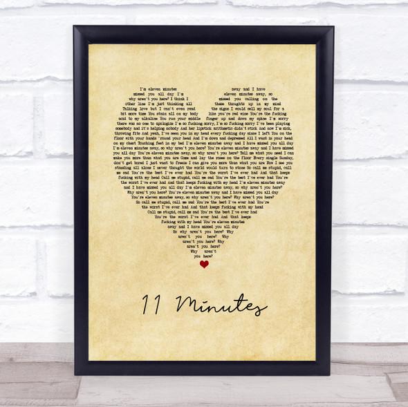 Yungblud & Halsey 11 Minutes Vintage Heart Song Lyric Print