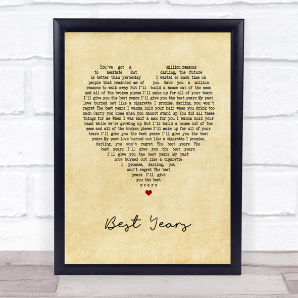 5 Seconds Of Summer Best Years Vintage Heart Song Lyric Print