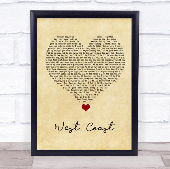 Imagine Dragons West Coast Vintage Heart Song Lyric Print