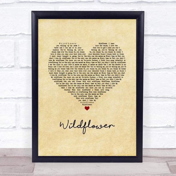 5 Seconds Of Summer Wildflower Vintage Heart Song Lyric Print