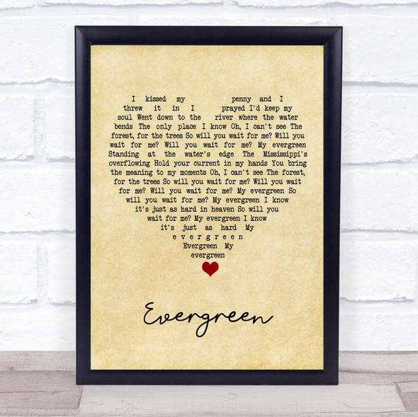 YEBBA Evergreen Vintage Heart Song Lyric Print