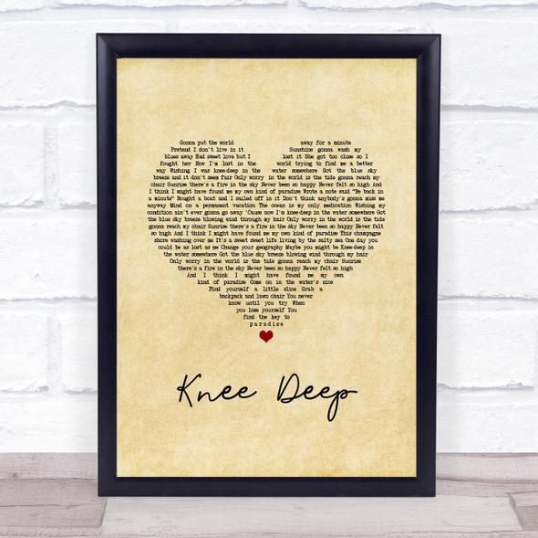 Zac Brown Band Knee Deep Vintage Heart Song Lyric Print