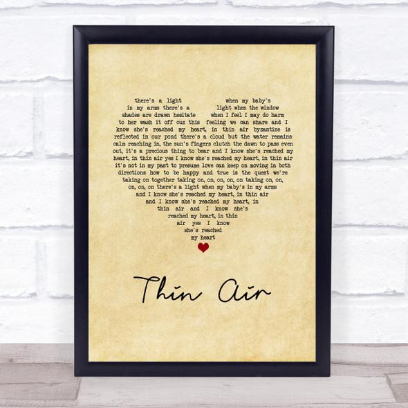 Pearl Jam Thin Air Vintage Heart Song Lyric Print
