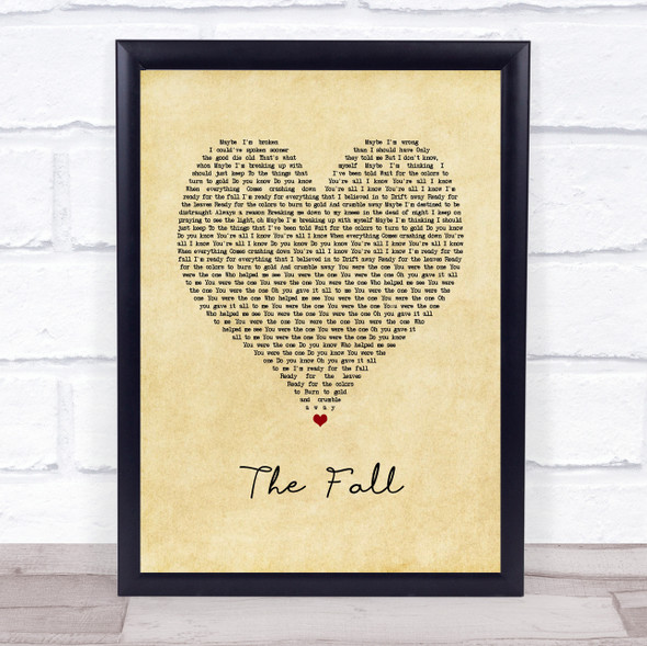 Imagine Dragons The Fall Vintage Heart Song Lyric Print