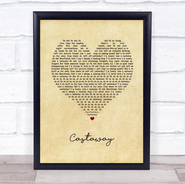 5 Seconds Of Summer Castaway Vintage Heart Song Lyric Print