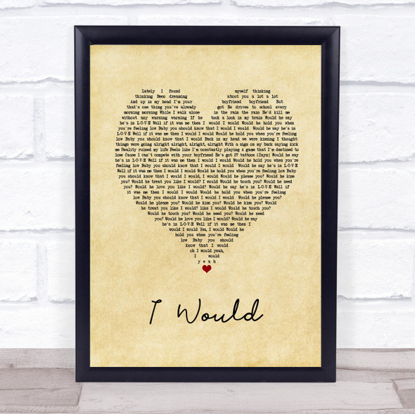 One Direction I Would Vintage Heart Song Lyric Print