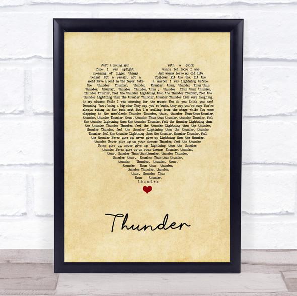 Imagine Dragons Thunder Vintage Heart Song Lyric Print
