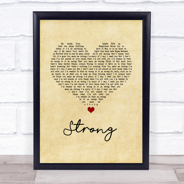 One Direction Strong Vintage Heart Song Lyric Print