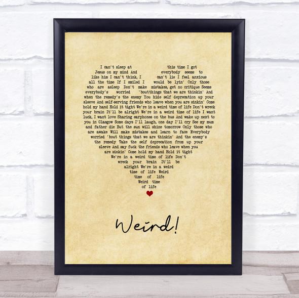YUNGBLUD Weird! Vintage Heart Song Lyric Print